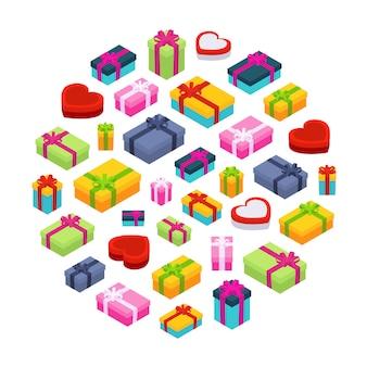 Isometrische farbige geschenkboxen