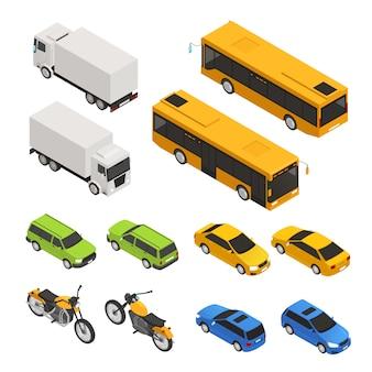 Isometrische farbige stadttransportikone stellte mit verschiedenen lkw-buswagen in zwei seitenvektorillustration ein