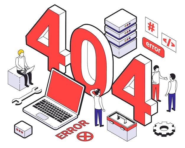 Isometrische farbige webhosting-isometrische zusammensetzung mit 404-fehler bei fehlerhaften anfragen
