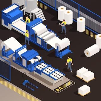 Isometrische farbige zusammensetzung der papierproduktion mit fabrikangestellten, die arbeiten