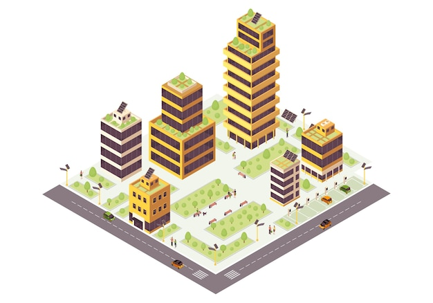 Isometrische farbillustration der öko-stadt. grüne gebäude. smart city infografik. 3d-konzept für erneuerbare energien. umweltfreundliche umgebung. städtisches ökosystem ohne abfall. isoliertes gestaltungselement