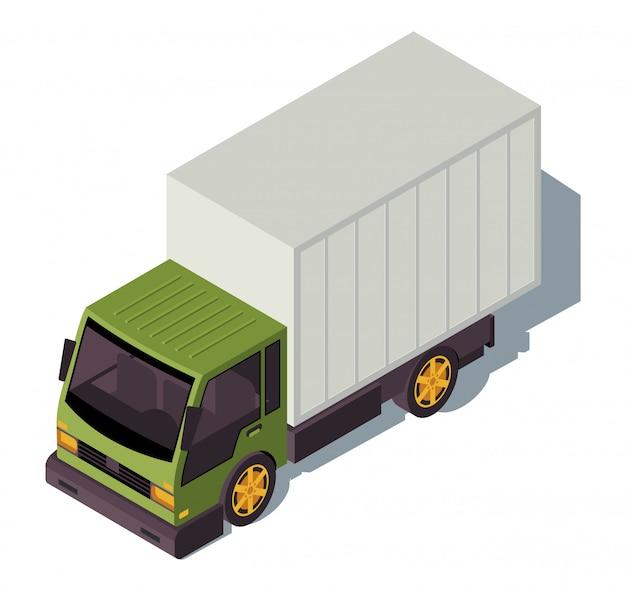 Isometrische farbillustration des autotruck. stadtverkehr infografik.