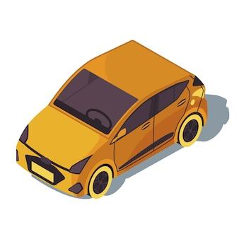 Isometrische farbillustration des minivans. stadtverkehr infografik.