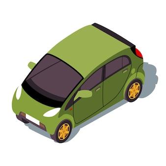 Isometrische farbillustration von microcar. stadtverkehr infografik. grünes kei-auto. urban minicompact auto.