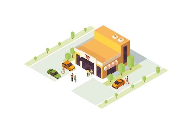 Isometrische farbvektorillustration des supermarktes