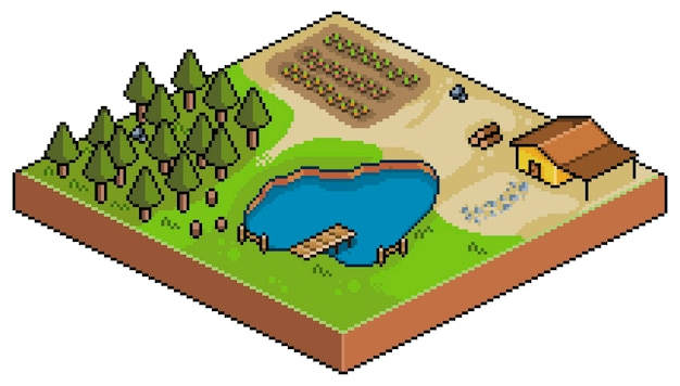 Isometrische farm der pixelkunst lokalisiert auf weiß