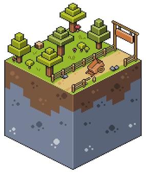 Isometrische farmlandschaft der pixelkunst mit straßenbaumwagen und zaunbitspiel
