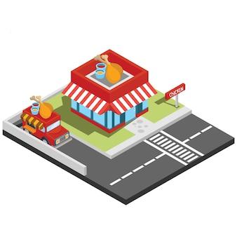 Isometrische fast-food-restaurants