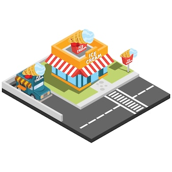 Isometrische fast-food-restaurants