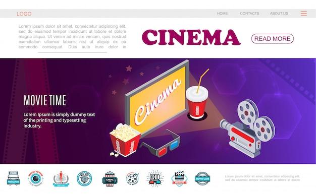 Isometrische filmzeit-webseitenvorlage mit fernsehbildschirm-soda-popcorn-3d-brillenkamera und bunten kinolabels