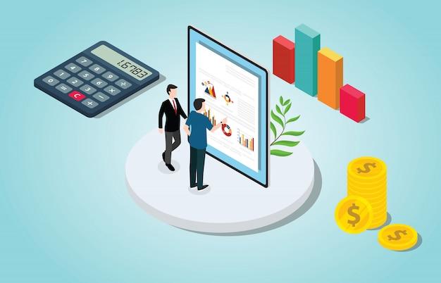 Isometrische finanzcheckanalyse mit personen- und datendiagramm