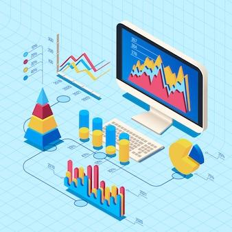 Isometrische finanzdatenanalyse. marktposition, illustration des netzgeschäftscomputer-diagramms 3d