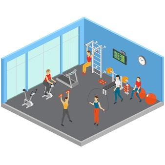 Isometrische fitness-club-illustration