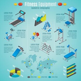 Isometrische fitnessgeräte infografik vorlage mit laufband stationären fahrrad hanteln langhanteln verschiedene trainer isoliert
