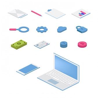 Isometrische flache icon-set. bunte illustration des vektors 3d mit seo-symbolen. digitales netzwerk, analytik