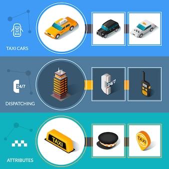 Isometrische flache informative fahnen taxis eingestellt
