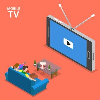 Isometrische flache vektorillustration des mobilfernsehens