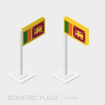 Isometrische flagge srilanka 3d