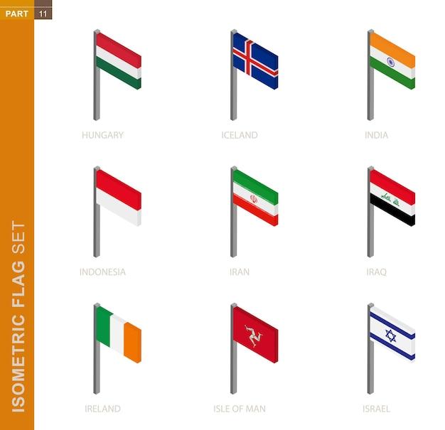 Isometrische flaggensammlung lokalisiert auf weiß