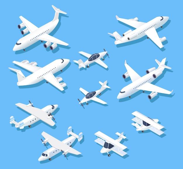 Isometrische flugzeuge. privatjet flugzeuge, flugzeuge und verkehrsflugzeug. 3d antenne gesetzt