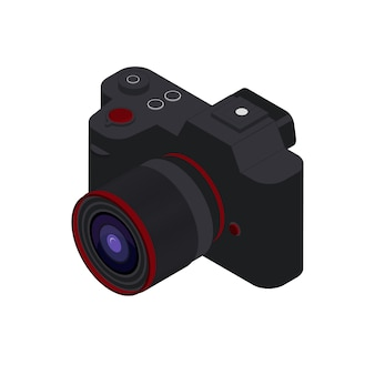 Isometrische fotokameravektorillustration. schwarze spiegellose isometrische kamera.