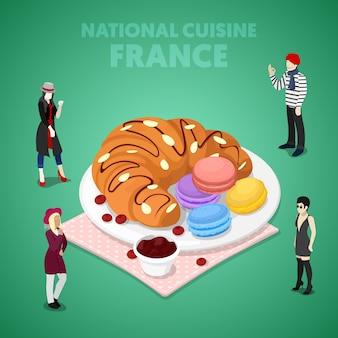 Isometrische französische nationalküche mit croissant, makronen und franzosen in traditioneller kleidung. flache illustration des vektors 3d