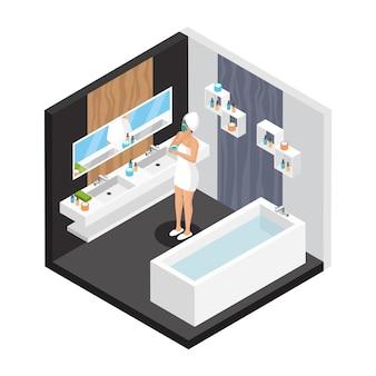 Isometrische frau im badezimmer-konzept