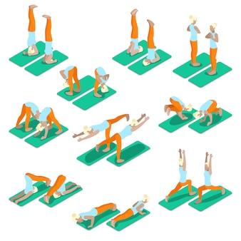 Isometrische frau yoga-übungen eingestellt. fit mädchen, das in verschiedenen posen trainiert. flache illustration des vektors 3d