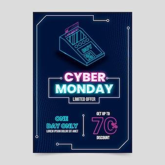 Isometrische futuristische cyber-montag-vertikale-plakat-vorlage