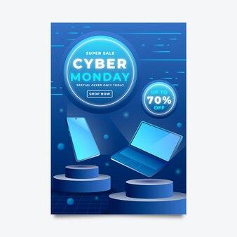 Isometrische futuristische cyber-montag-vertikale-poster-vorlage