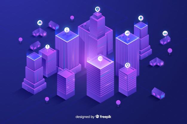 Isometrische futuristische stadt hintergrund