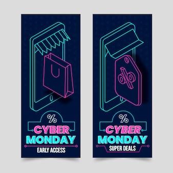 Isometrische futuristische vertikale cyber-montag-banner-set