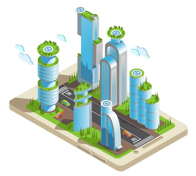 Isometrische futuristische wolkenkratzer färbten zusammensetzungsteil der stadt mit wolkenkratzern