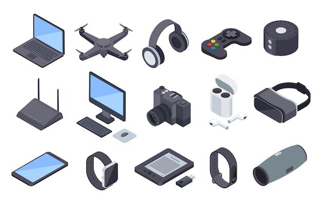 Isometrische gadgets elektronische geräte mit drahtloser technologie drohnenkopfhörer smartwatch-router 3d