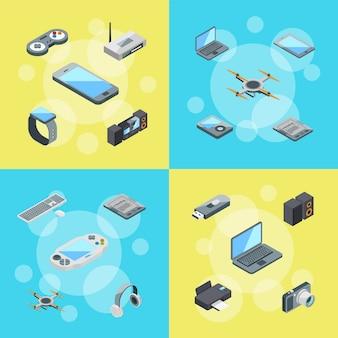 Isometrische gadgets symbole infographik konzept