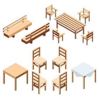 Isometrische garten- und hausmöbel. ein bankpark und stühle mit einem tisch aus holzbrettern. ein tisch mit einem tuch für die küche und das esszimmer.
