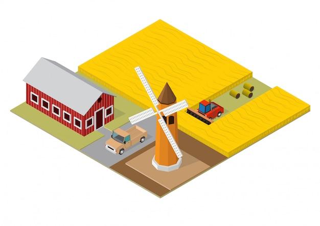 Isometrische gebäude der landwirtschaft