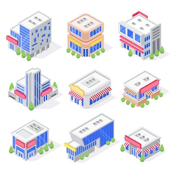 Isometrische gebäude des mallspeichers, shopäußeres, supermarktgebäude und moderne stadtspeicherarchitektur lokalisierten satz 3d