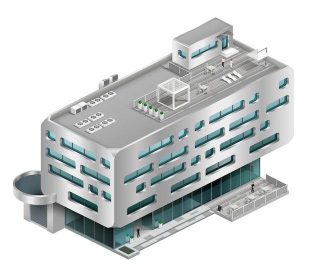 Isometrische gebäude einkaufszentrum