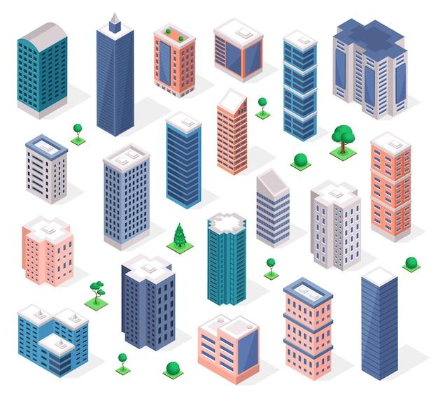Isometrische gebäude städtischer wolkenkratzerturm moderne wohnung oder geschäftsbüros
