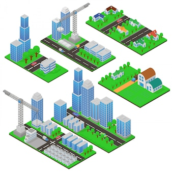 Isometrische gebäude und gebäudekonstruktionen mit bäumen und straßen. öffentliche gebäude, landhäuser, wohnkomplexe und wolkenkratzer in 3d im isometrischen cartoon-stil.