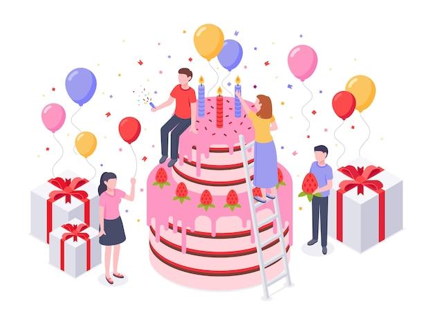 Isometrische geburtstagstorte. party konfetti, kuchen geschenk und geburtstage überraschen backen geschenk illustration