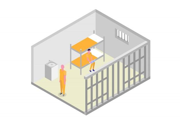 Isometrische gefängniszelle. gefängnis, inhaftierungskonzept. vektorillustration
