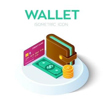 Isometrische geldbörsenikone 3d mit kreditkarte und geld. dollar. bankkarte. zahlung .