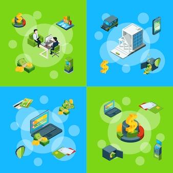 Isometrische geldfluss in bank icons infographik satz