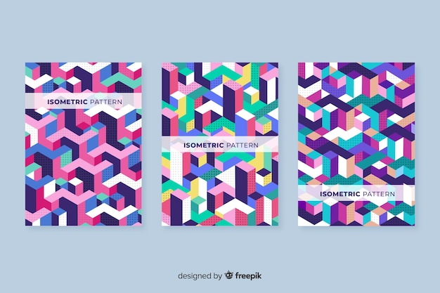 Isometrische geometrische musterabdeckungssammlung