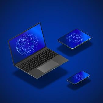 Isometrische geräte eingestellt. realistisches laptop-handy und -tablet mit globaler vernetzung auf dem bildschirm. moderne gadget-vorlage.