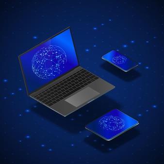Isometrische geräte eingestellt. realistisches laptop-handy und -tablet mit globaler vernetzung auf dem bildschirm. modernes digitales ökosystem. in blauer farbe