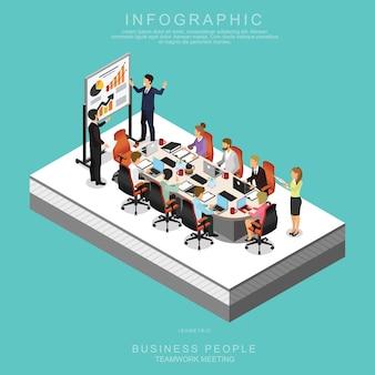 Isometrische geschäfts-leute teamwork, das im büro sich trifft