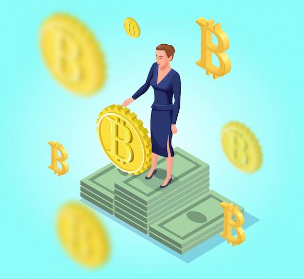 Isometrische geschäftsfrau mit bitcoin-symbo